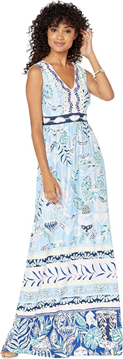 Blue Peri Lapis Lanterns Engineered Maxi Dress