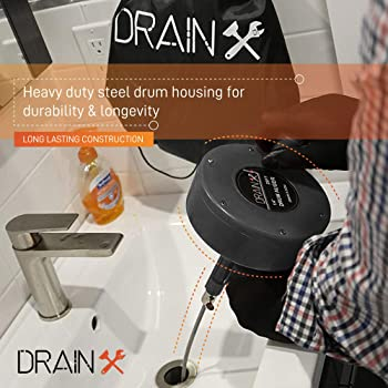 Drainx Pro Steel Drum Auger Plumbing Snake | Heavy Duty 25-Ft Drain Cable with Work Gloves and Storage Bag