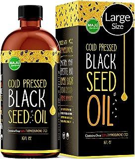 MAJU`s Black Seed Oil 16oz: 3x% Thymoquinone, Cold Pressed, no Pesticides, 100% Turkish Black Cumin Nigella Sativa Seed Oil (Better Than Organic), non-GMO, 100% Liquid Pure Blackseed Oil, Glass Bottle