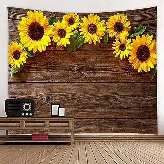 Wooden Board Sunflower Flower Print Fabric Tapestry Decor Wall Art Tablecloths Bedspread..