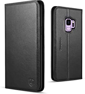 SHIELDON Galaxy S9 Case, Genuine Leather Premium Galaxy S9 Wallet Case Folio Cover Stand Feature with Credit Card Slots Full Protection Case Compatible with Galaxy S9 5.8 Inch - Black