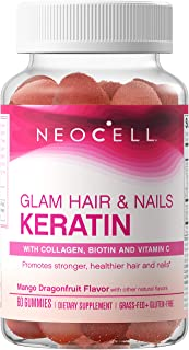 NeoCell Glam Hair and Nails Grass Fed Collagen Gummies with Keratin, Biotin, Bilberry Fruit Extract and Vitamin C, Mango D...
