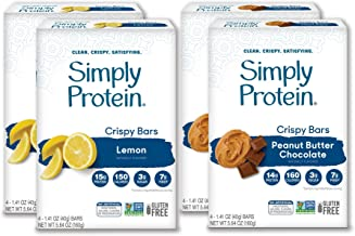 SimplyProtein Crispy + Baked Bar Variety Packs. Clean Gluten-Free Bars with Plant Based Protein. (16 Bars Total) (Crispy Bar Variety Pack)