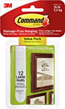 Command 17206-12ES 3M Large Photo Hangers No Tools or Holes, Strong and Versatile, Value Pack, 12 Picture Strips