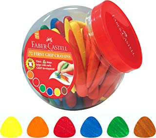 Faber-Castell First Grip Erasable Wax Crayons 72 Pieces, Assorted, (21-122772)