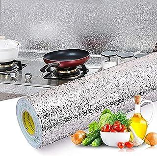 Wolpin Wall Stickers Wallpaper Kitchen Aluminium Foil (60 x 200 cm) Oil Proof, Kitchen Backsplash Wallpaper Self-Adhesive ...