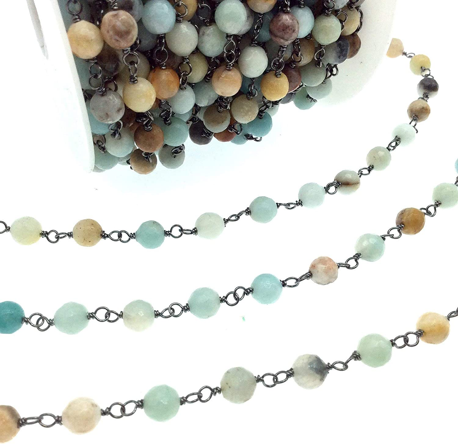 Gunmetal Super special price Plated Copper Wrapped Rosary 6mm Chain Faceted with Denver Mall Nat