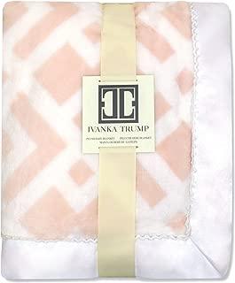 Ivanka Trump Wildflower Collection: Super Soft Plush Baby Blanket - Pink/White Trellis