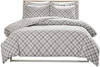 Comfort Spaces Grey Ultra Soft 100% Cotton Plaid Flannel Mini Set-3 Piece Queen Size, Includes 1 Duvet Cover, 2 Shams