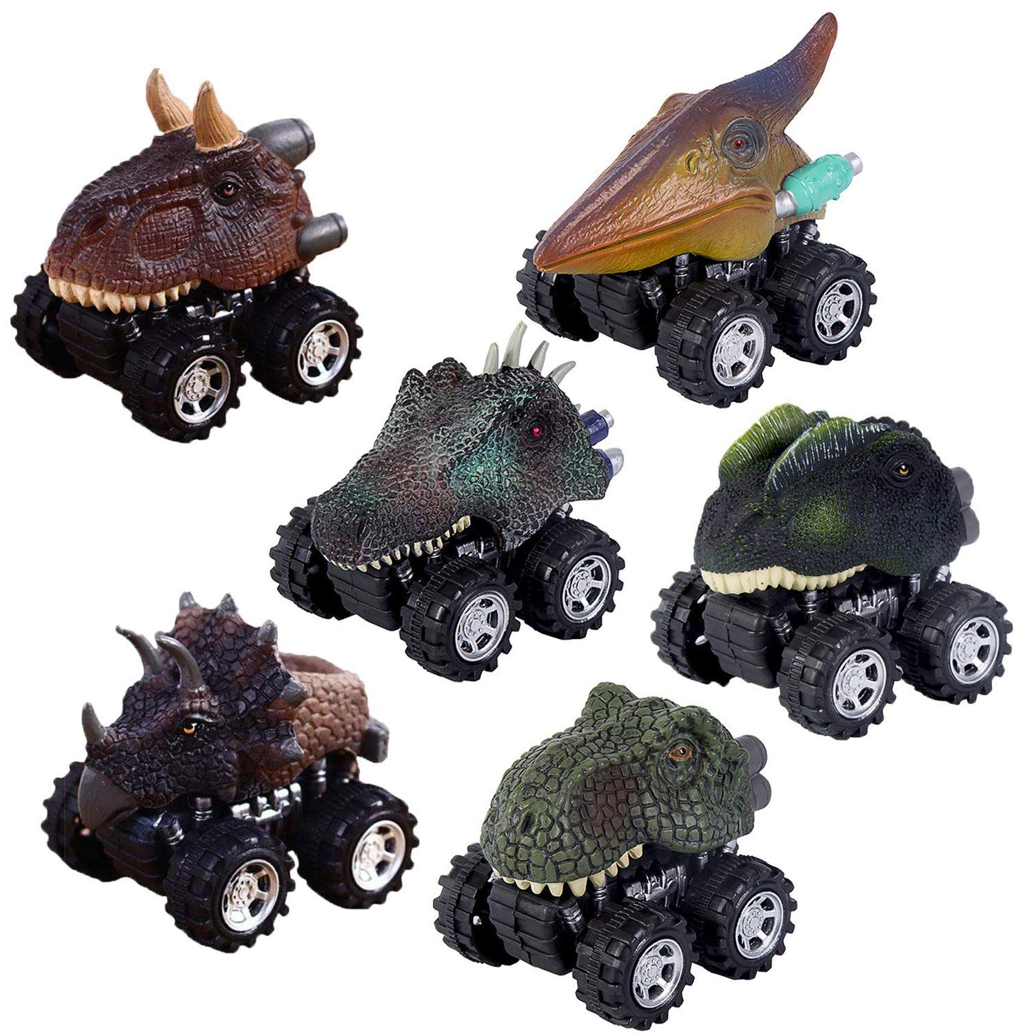 Dino Cars Toys with Big Tire Wheel for 3-14 Year Old Boys Girls Creative Gifts for Kids. Pull Back Dinosaur Cars Set of 6