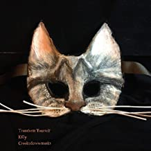 Kitty Cat Masquerade Ball Mask - Adult Halloween Mask - Cosplay, LARP, Roleplay, Handmade Props