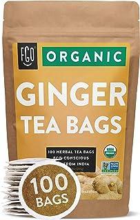 Organic Ginger Tea Bags | 100 Tea Bags | Eco-Conscious Tea Bags in Kraft Bag | Raw from..
