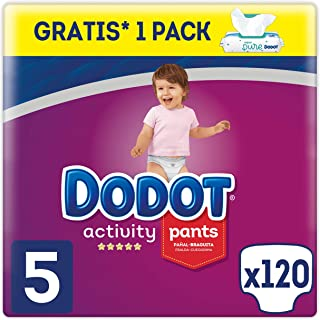 Dodot Activity Pants Pañal-Braguita Talla 5, 120 Pañales, 12-17kg + Dodot Aqua Pure Toallitas para bebé, 1 Pack de 48 Toallitas Gratis