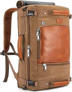 Plambag Canvas Travel Duffel Backpack Retro Laptop Messenger Bag Handbag (Coffee, One Size)