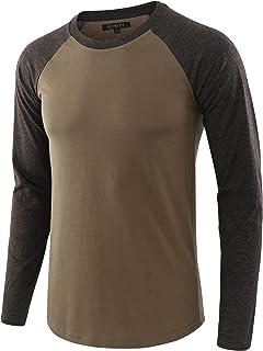 HETHCODE Men's Casual Lightweight Vintage Long Raglan Sleeve Baseball T-Shirt