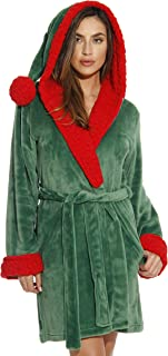 Image of Green and Red Hooded Elf Christmas Robe for Women - See More Christmas Robes