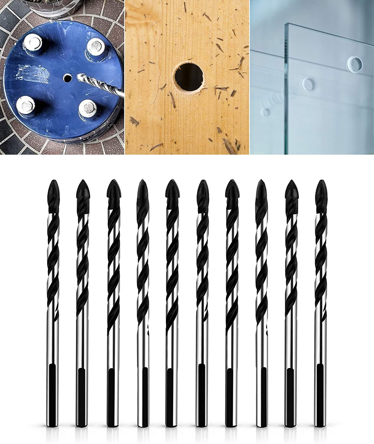 QWORK 5 Pcs Set (6, 6, 8, 10, 12mm) Multi-Material Drill Bit Set for Tile, Concrete, Brick, Glass, Plastic and Wood Tungsten Carbide Tip Best for Wall Mirror and Ceramic Tile on Concrete and Brick Wall - -