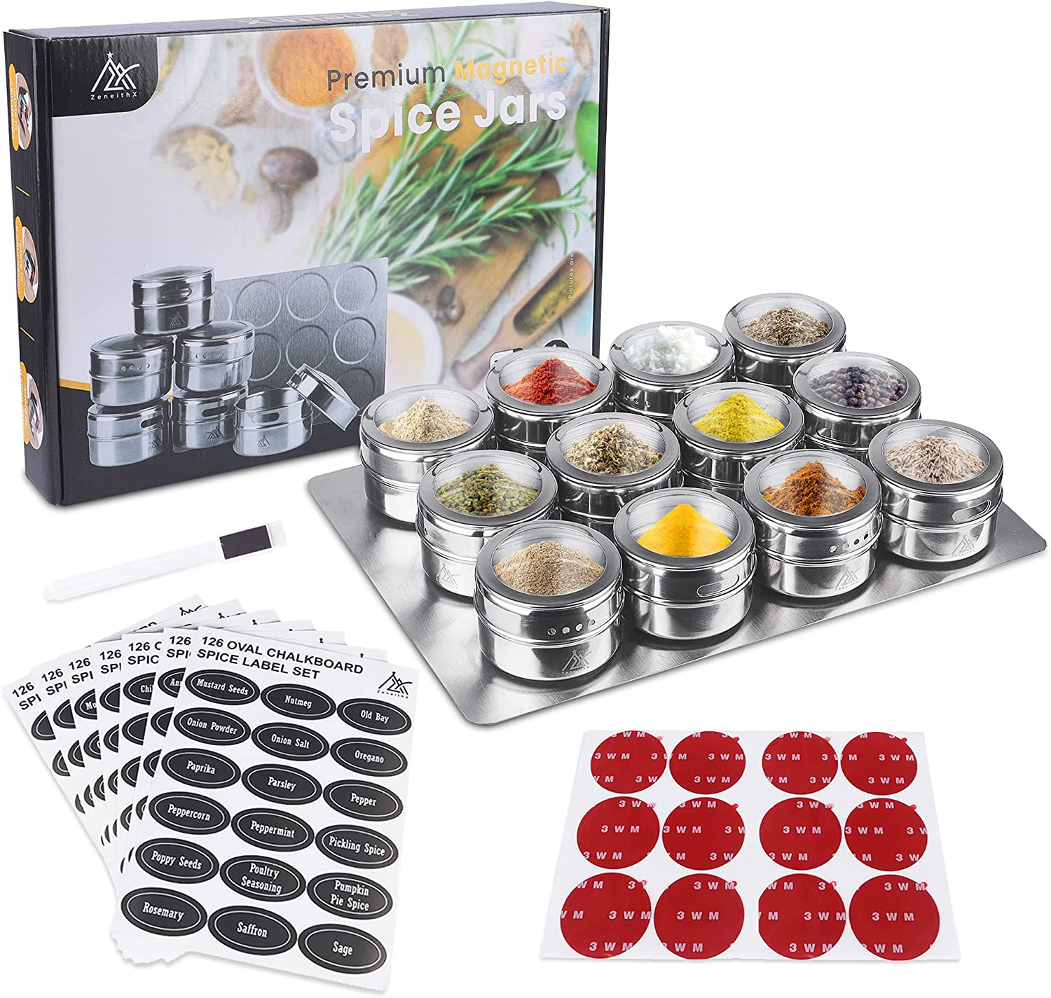 Premium Magnetic Spice Rack Wall Mount – Stainless Steel Sp
