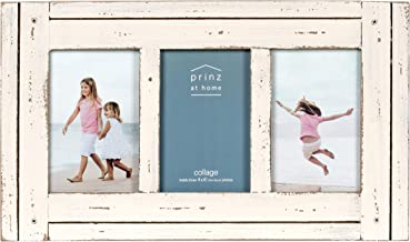 PRINZ Homestead Collage 4-Inch by 6-Inch Frame for Three Photos in Antique Finish, White