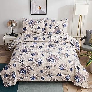 3 Piece Beach Themed Quilted Bedspread,Lightweight Ocean Bedding King Size,Summer Soft Microfiber Reversible Quilt Bedspre...