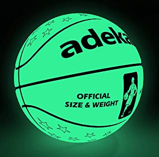 adekale Basketball Ball,Battery-Free Light Up Basketball, PU Glow in The Dark Basketball, Fluorescent Bright After Sun Shine,Official Size& Weight (Size 7) with Pump for Man Teen Boy