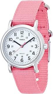 Women's T2P368 Weekender Mid-Size Slip Thru Pink Nylon Strap Watch