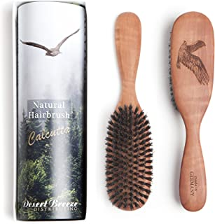 Made in Germany, 100% Pure Calcutta Wild Boar Bristle Hair Brush, Eagle Engraving (CLC-M), Extra Stiff Natural Bristles, Medium Hair Thickness, Pear Wood Handle, by Desert Breeze Distributing