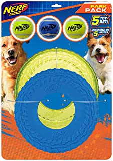 Nerf Dog 5-Piece Dog Toy Gift Set, Includes 2.5in Squeak Tennis Ball 3-Pack, 10in Translucent TPR Tire Flyer, and 10in TPR...