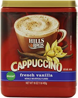 Hills Bros. Instant Cappuccino Mix, Decaf French Vanilla Cappuccino–Easy to Use, Enjoy Coffeehouse Flavor at Home-Decadent...