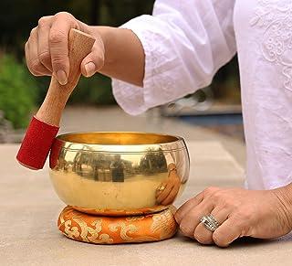 DharmaObjects Tibetan Ring Gong Meditation Singing Bowl Mallet Cushion Set (Extra Large)