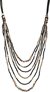 Leather Bead Necklace Multi Layered Black & Gold and Black and Silver