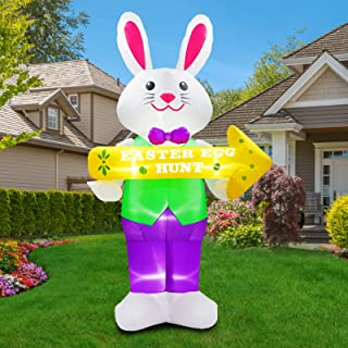 UniqSeason 7FT Inflatable Easter Bunny Decoration with Eggs Hunt Guide for Indoor Outdoor Home Yard Lawn Garden Party