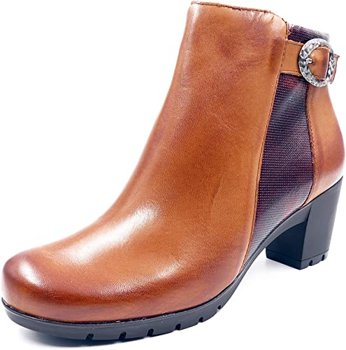 Botines mujer Pitillos en Piel Color Cuero Combi marrón, tacón 5cm - 3823-566