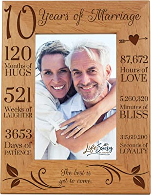11.5x13.5 LifeSong Milestones 4th Anniversary Picture Frame 4 Year of Marriage Four Year Wedding Keepsake Gift for Parents Husband Wife him her Holds 8x10 Photo I Wish I Could of met You Sooner