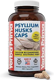 Yerba Prima Psyllium Husks Caps, 625 mg, 400 Capsules - Natural Fiber Supplement - (Packaging May Vary - New Label Coming ...