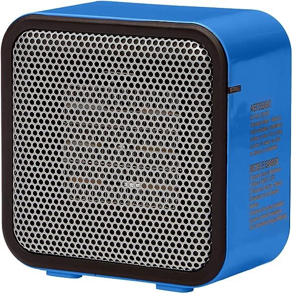 AmazonBasics 500 Watt Ceramic Small Space Personal Mini Heater Blue