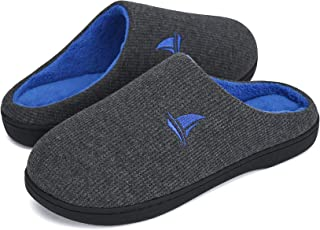 Voovix Men's Slippers Classic Women's Two-Tone Memory Foam House Slippers, Comfort Warm Plush with Non-Slip Rubber Sole Indoor & Outdoor House Shoes for Winter, Autumn
