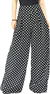 Best black polka dot wide leg trousers Reviews