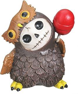 Furrybones Hootie Signature Skeleton in Brown Owl Costume with Red Lollipop