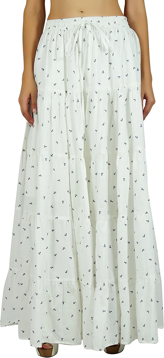 Bimba Women White Maxi Long Flaired Skirt Wth Lining Casual Cotton Summer Skirts - Anchor Print
