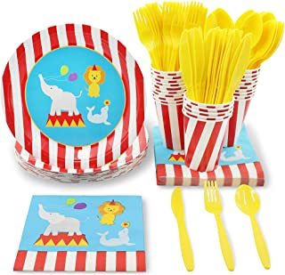 Juvale Circus Animals Party Supplies for Kids Birthdays and Baby Showers - Plates, Knives, Spoons, Forks, Napkins, and Cups, Serves 24