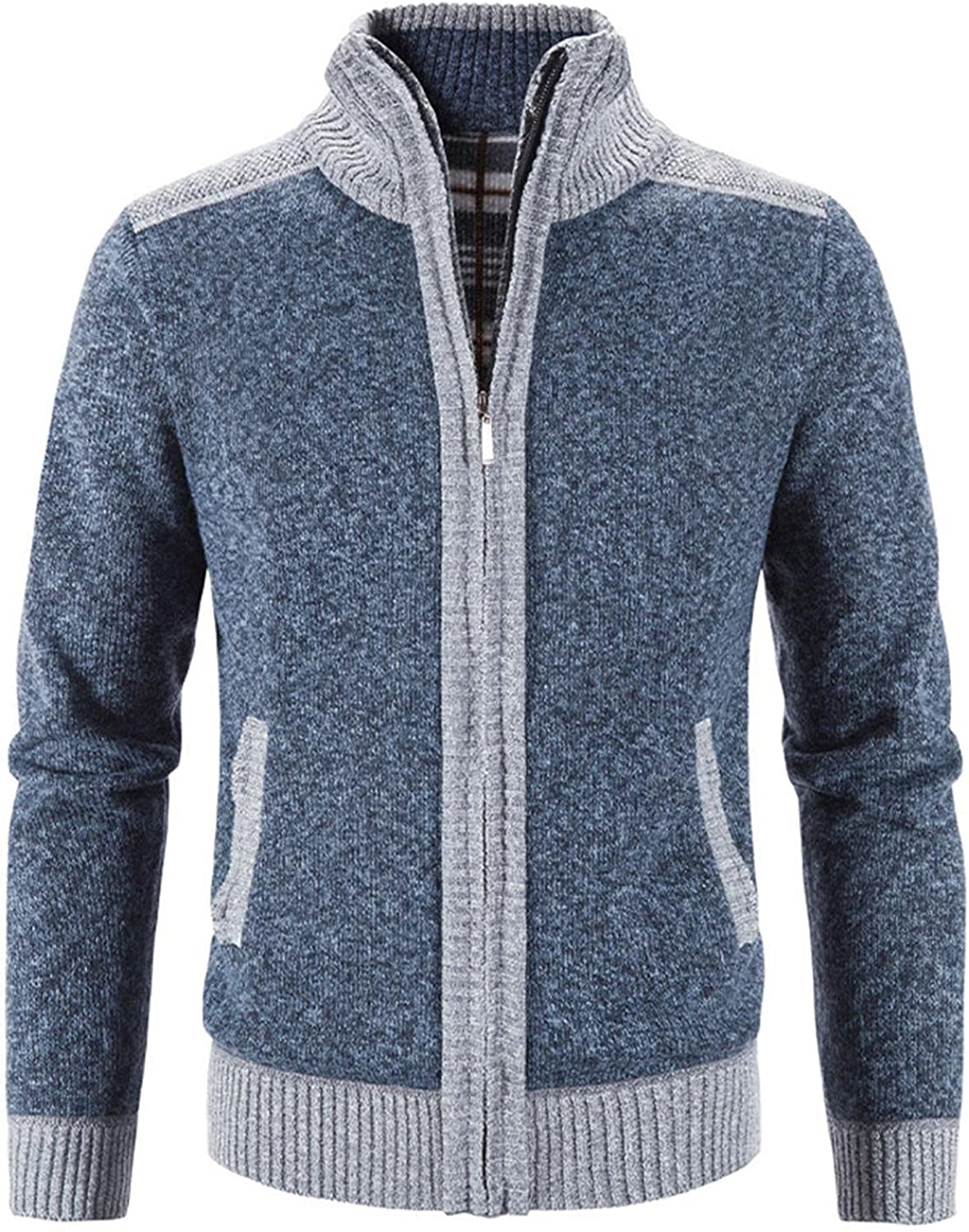 Huangse Mens Cardigan Sweaters Full Zip Long Sleeve Pocket Knit Jacket Stand Collar Open Front Cardigans Winter Knitted Coat
