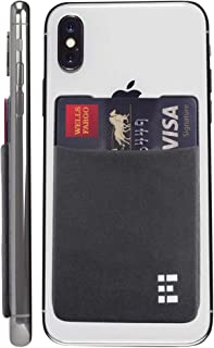 Cell Phone Credit Card Holder Stick On Wallet Case w/RFID Blocking (Shadow)