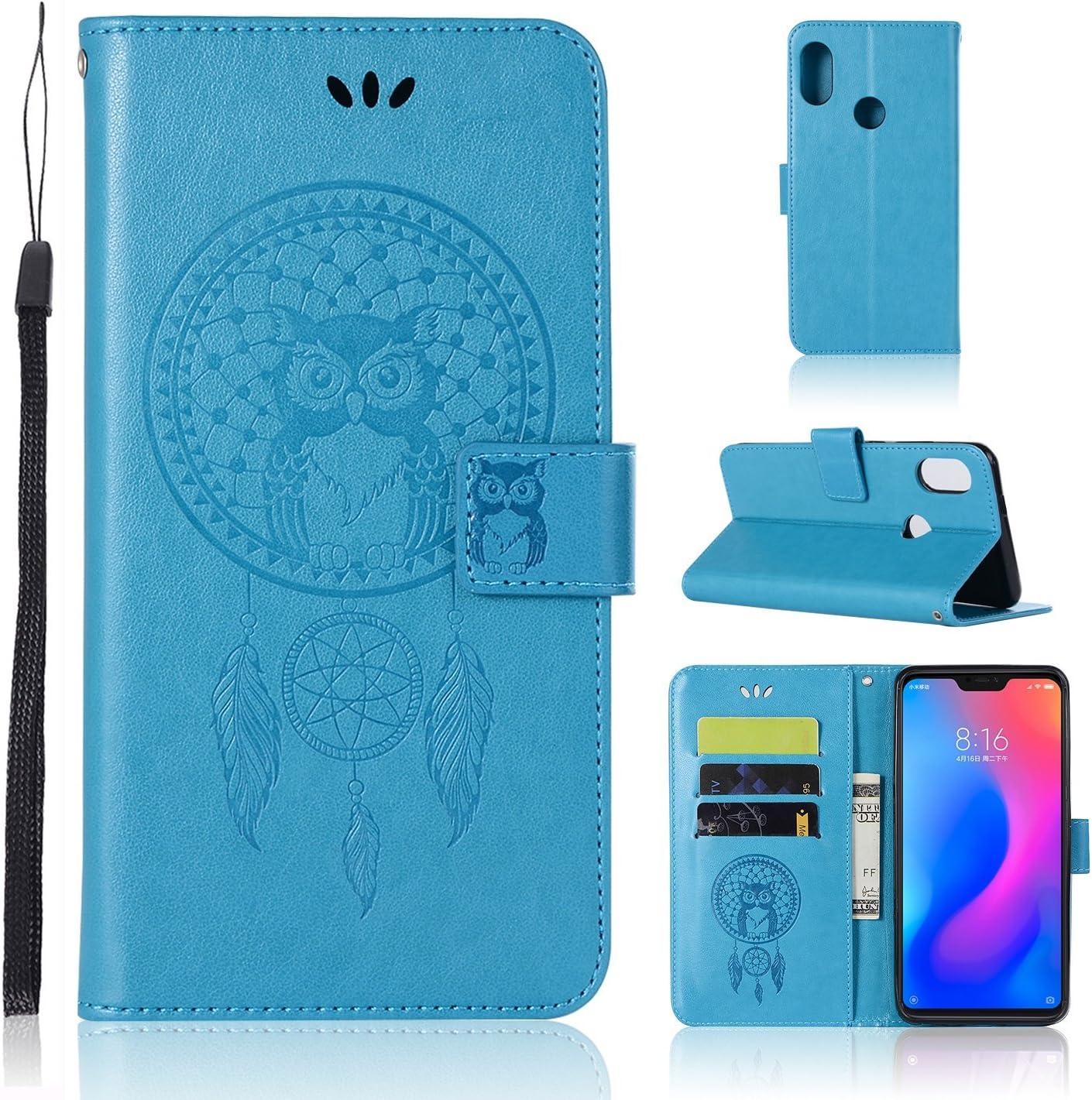 Zchen Funda Xiaomi Redmi 6 Pro, Funda Xiaomi Mi A2 Lite, Funda Piel con Tapa PU Tipo Libro Billetera Resistent Carcasa para Xiaomi Redmi 6 Pro/Mi A2 Lite (Atrapasueños Búho-Azul)
