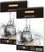 Pencilmarch Bloc de Dibujo en Espiral - A4 180 GSM 50 Hojas*2. Cuaderno de dibujo para artistas. Ideal para estudios, escuelas o casa.