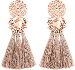 boderier Bohemian Statement Thread Tassel Chandelier Drop Dangle Earrings with Cassandra Button Stud