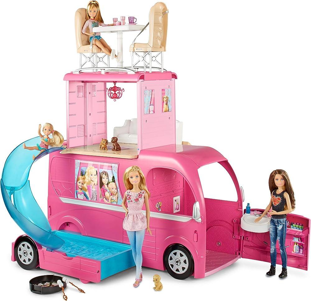 barbie- pop up camper 3 livelli e 4 posti letto con scivolo e tanti accessori giocattolo per bambini 3+ ann cjt42