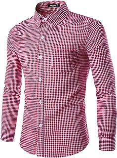 NUTEXROL Men Plaid Cotton Casual Slim Fit Long Sleeve Button Down Dress Shirts