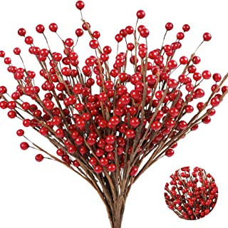 Homcomoda 14 Pack Christmas Berry Twig Stem Artificial Red Berry Branches for Christmas Tree Wreath Holiday Home Decorations
