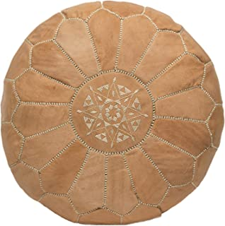 Moroccan Embroidered Leather Pouf/Ottoman Hassock, Natural Sand